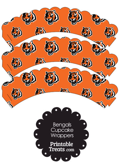 Cincinnati Bengals Logo Scalloped Cupcake Wrappers from PrintableTreats.com