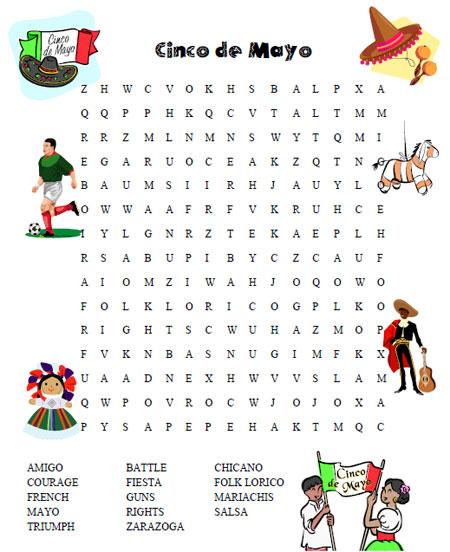 Cinco De Mayo Word Search Printable