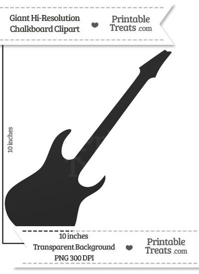 Clean Chalkboard Giant Guitar Clipart Printable Treats Com