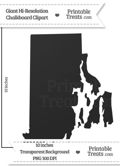 Clean Chalkboard Giant Rhode Island State Clipart from PrintableTreats.com