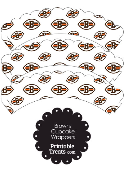 Cleveland Browns Logo with White Background Scalloped Cupcake Wrappers from PrintableTreats.com
