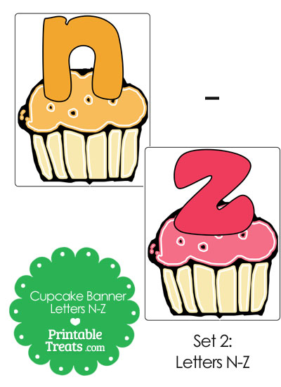 Cupcake Birthday Banner Letters N-Z from PrintableTreats.com