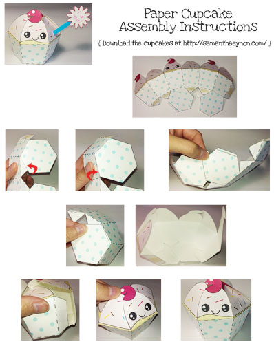 Cupcake Paper Toy Instructions