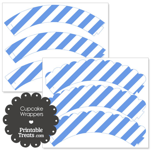 cupcake wrappers with blue stripes