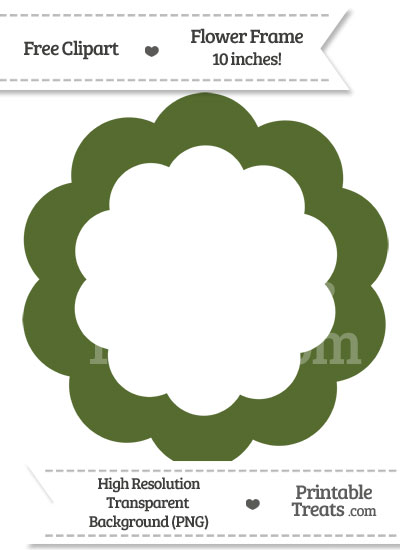 Dark Olive Green Flower Frame Clipart from PrintableTreats.com