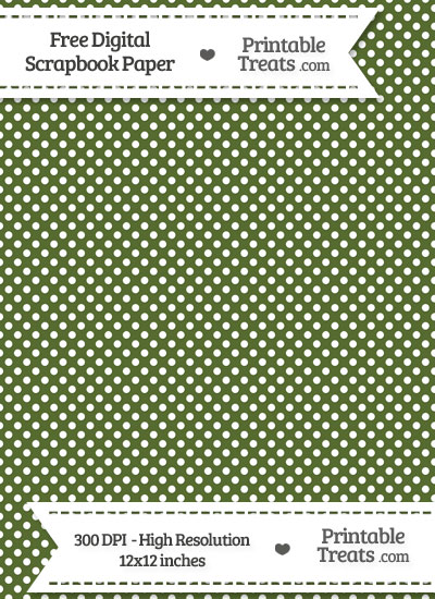 Dark Olive Green Raised Mini Polka Dots Digital Paper from PrintableTreats.com