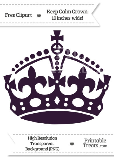 Dark Purple Keep Calm Crown Clipart — Printable Treats.com