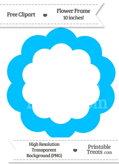 Deep Sky Blue Flower Frame Clipart from PrintableTreats.com