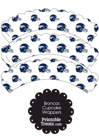 Denver Broncos Football Helmet Scalloped Cupcake Wrappers from PrintableTreats.com