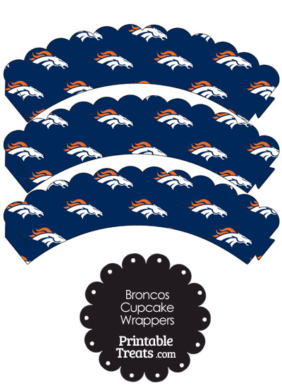 Denver Broncos Logo Scalloped Cupcake Wrappers from PrintableTreats.com
