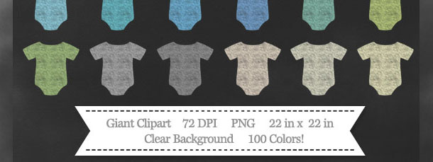 Download 100 Colors Baby Onesie Chalk Clipart from PrintableTreats.com