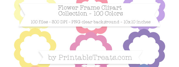 Download 100 Colors Flower Frame Clipart from PrintableTreats.com