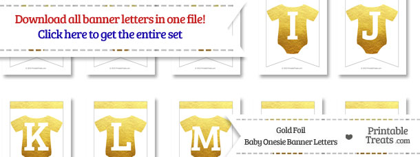 Gold Foil Baby Onesie Bunting Banner Letters Download from PrintableTreats.com