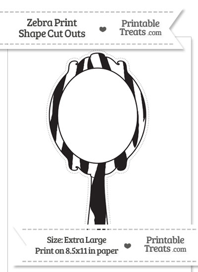 Extra Large Zebra Print Fancy Hand Mirror Cut Out