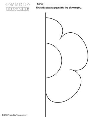 Flower Symmetry Drawing Worksheet — Printable Treats.com