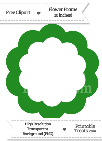Forest Green Flower Frame Clipart from PrintableTreats.com