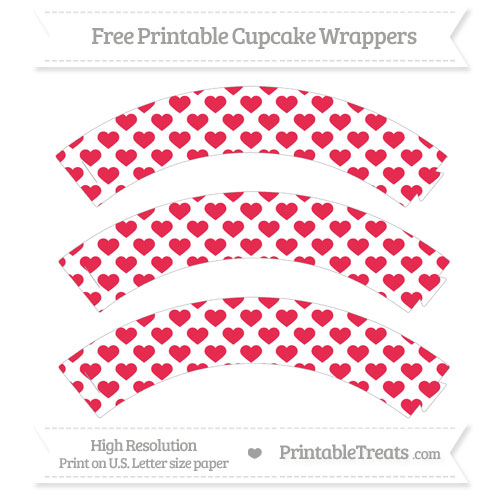 Free Amaranth Pink Heart Pattern Cupcake Wrappers