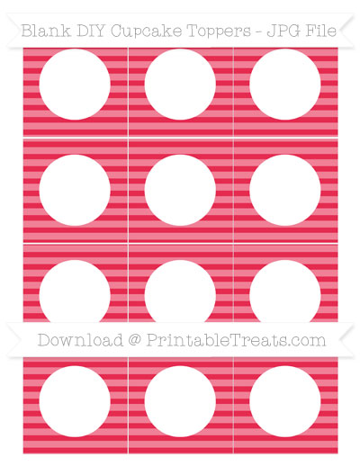 Free Amaranth Pink Horizontal Striped Blank DIY Cupcake Toppers
