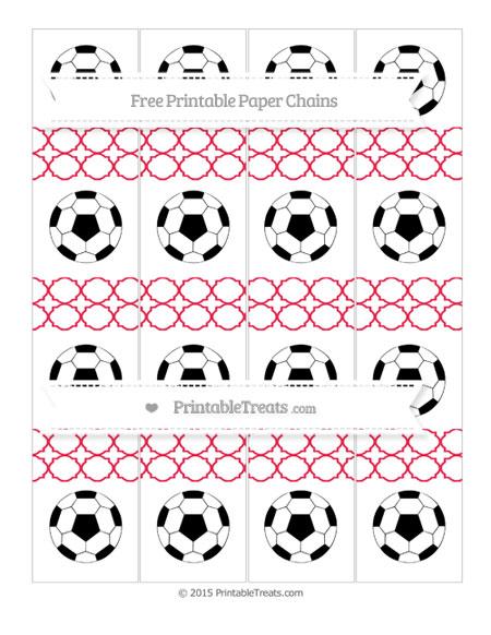 Free Amaranth Pink Quatrefoil Pattern Soccer Paper Chains