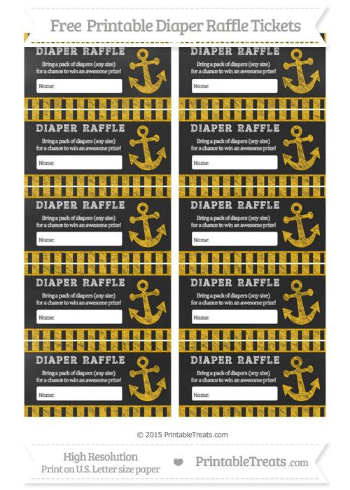 Free Amber Striped Chalk Style Nautical Diaper Raffle Tickets