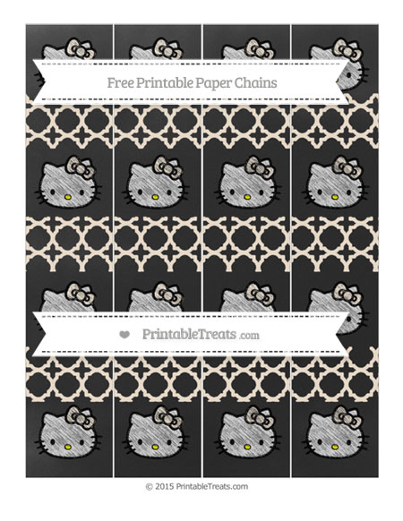 Free Antique White Quatrefoil Pattern Chalk Style Hello Kitty Paper Chains