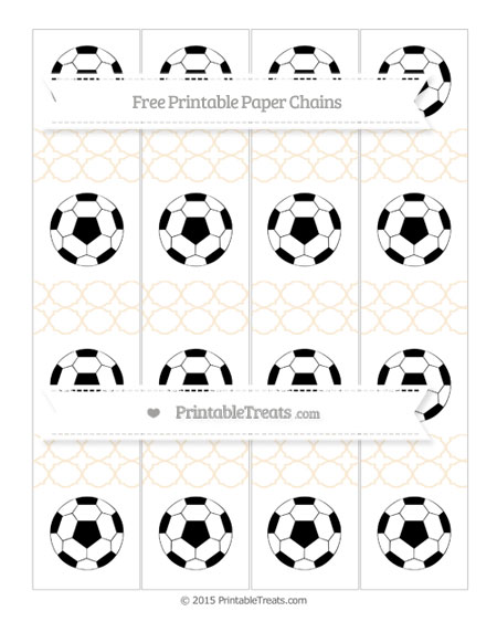 Free Antique White Quatrefoil Pattern Soccer Paper Chains