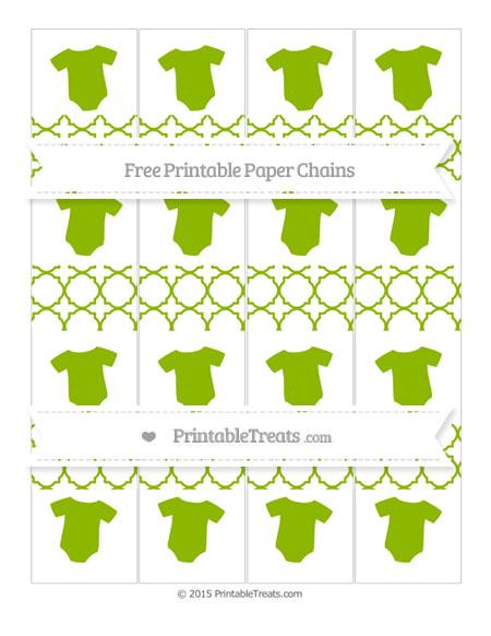 Free Apple Green Quatrefoil Pattern Baby Onesie Paper Chains