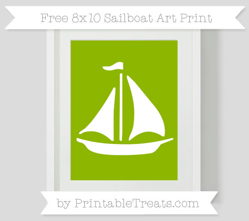 Free Apple Green Sailboat 8x10 Art Print