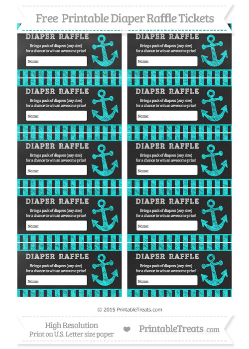 Free Aqua Blue Striped Chalk Style Nautical Diaper Raffle Tickets