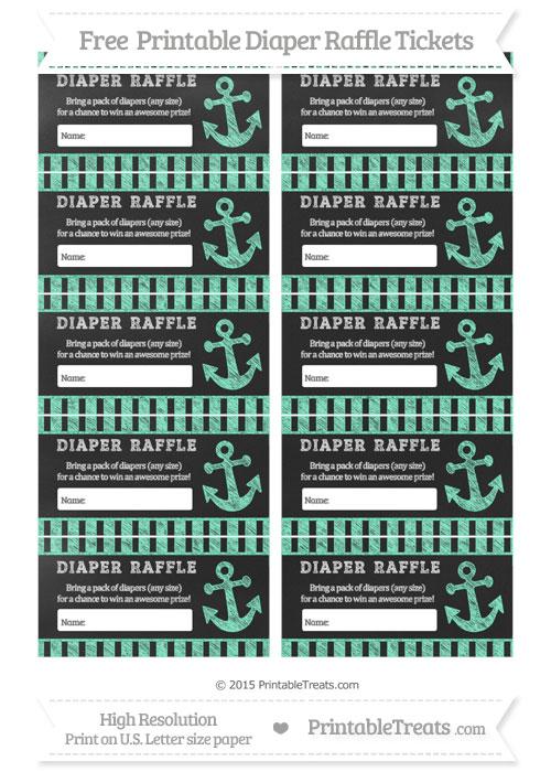 Free Aquamarine Striped Chalk Style Nautical Diaper Raffle Tickets