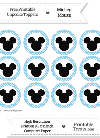 Free Baby Blue Polka Dot Mickey Mouse Cupcake Toppers
