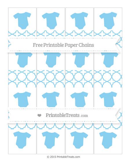 Free Baby Blue Quatrefoil Pattern Baby Onesie Paper Chains