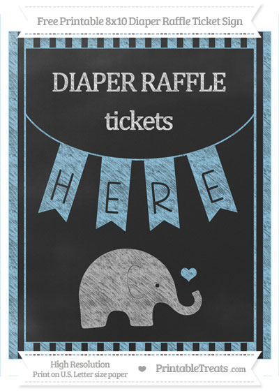 Free Baby Blue Striped Chalk Style Baby Elephant 8×10 ...