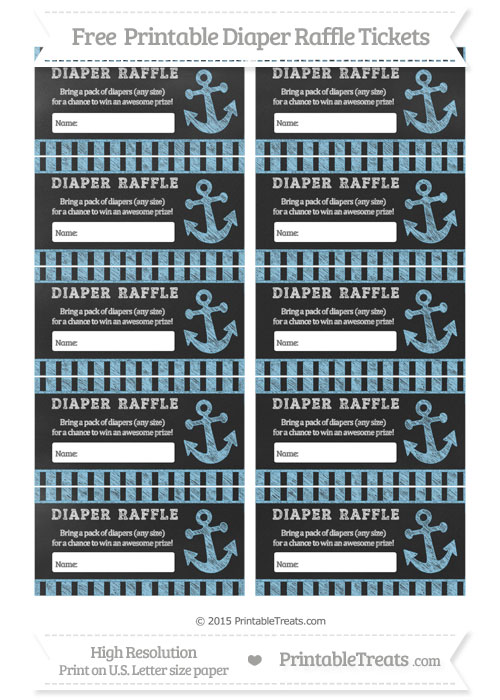 Free Baby Blue Striped Chalk Style Nautical Diaper Raffle Tickets