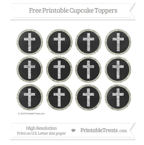 Free Beige Chalk Style Cross Cupcake Toppers
