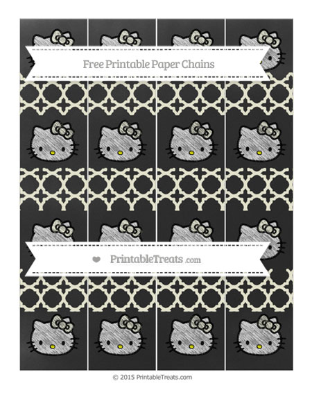 Free Beige Quatrefoil Pattern Chalk Style Hello Kitty Paper Chains