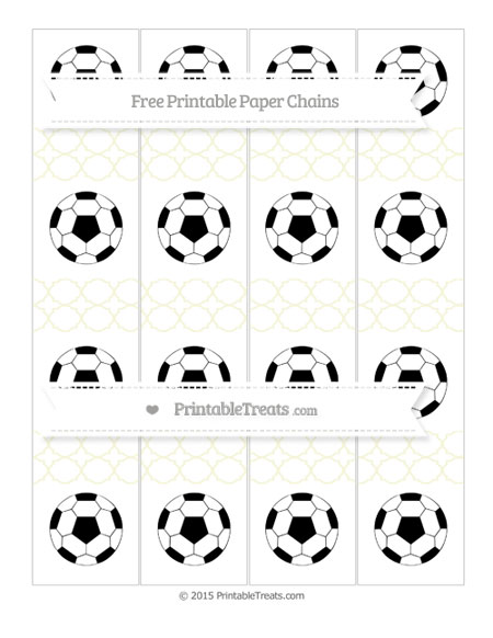 Free Beige Quatrefoil Pattern Soccer Paper Chains