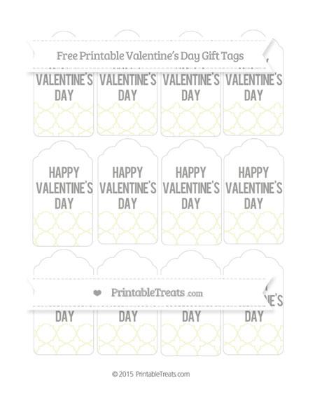 Free Beige Quatrefoil Pattern Valentine's Day Gift Tags