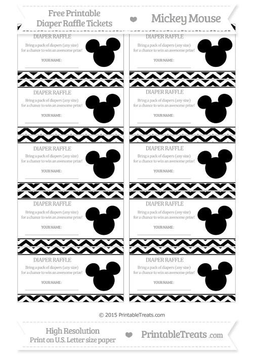 Free Black Chevron Mickey Mouse Theme Diaper Raffle Tickets