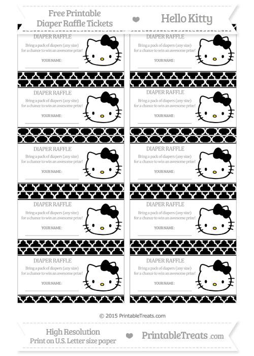 Free Black Moroccan Tile Hello Kitty Diaper Raffle Tickets