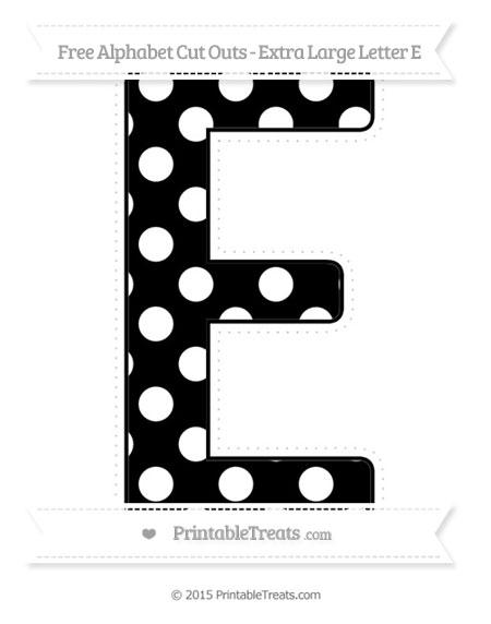 free black polka dot extra large capital letter e cut outs printable. Black Bedroom Furniture Sets. Home Design Ideas