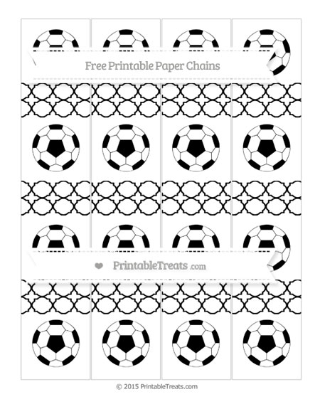 Free Black Quatrefoil Pattern Soccer Paper Chains