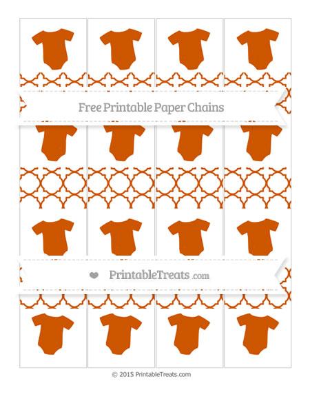 Free Burnt Orange Quatrefoil Pattern Baby Onesie Paper Chains