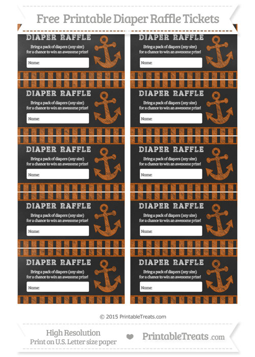 Free Burnt Orange Striped Chalk Style Nautical Diaper Raffle Tickets