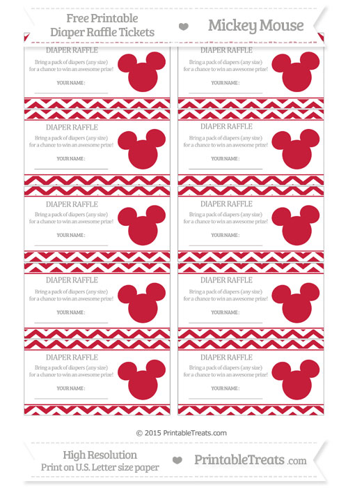 Free Cardinal Red Chevron Mickey Mouse Theme Diaper Raffle Tickets