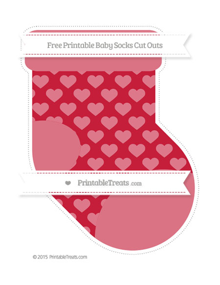 Free Cardinal Red Heart Pattern Extra Large Baby Socks Cut Outs
