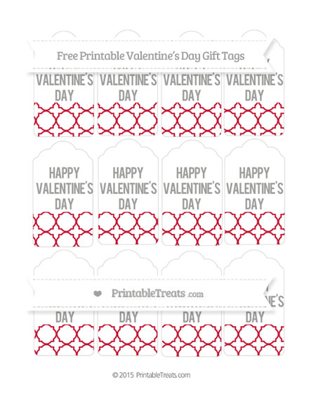 Free Cardinal Red Quatrefoil Pattern Valentine's Day Gift Tags