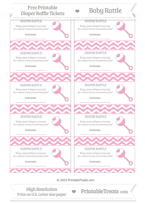 Free Carnation Pink Chevron Baby Rattle Diaper Raffle Tickets
