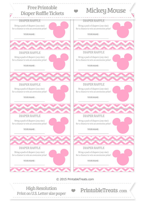 Free Carnation Pink Chevron Mickey Mouse Theme Diaper Raffle Tickets