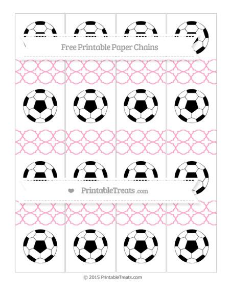 Free Carnation Pink Quatrefoil Pattern Soccer Paper Chains